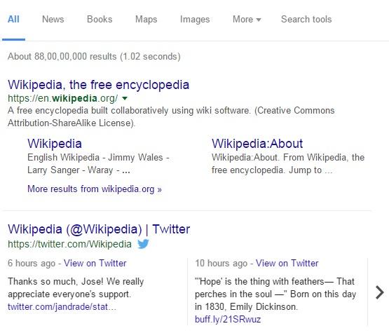 Wikipedia live tweets in Google SERP