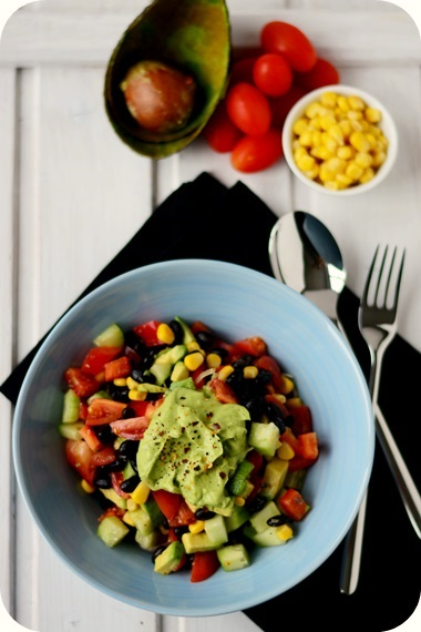Bohnensalat mit Avocadodressing
