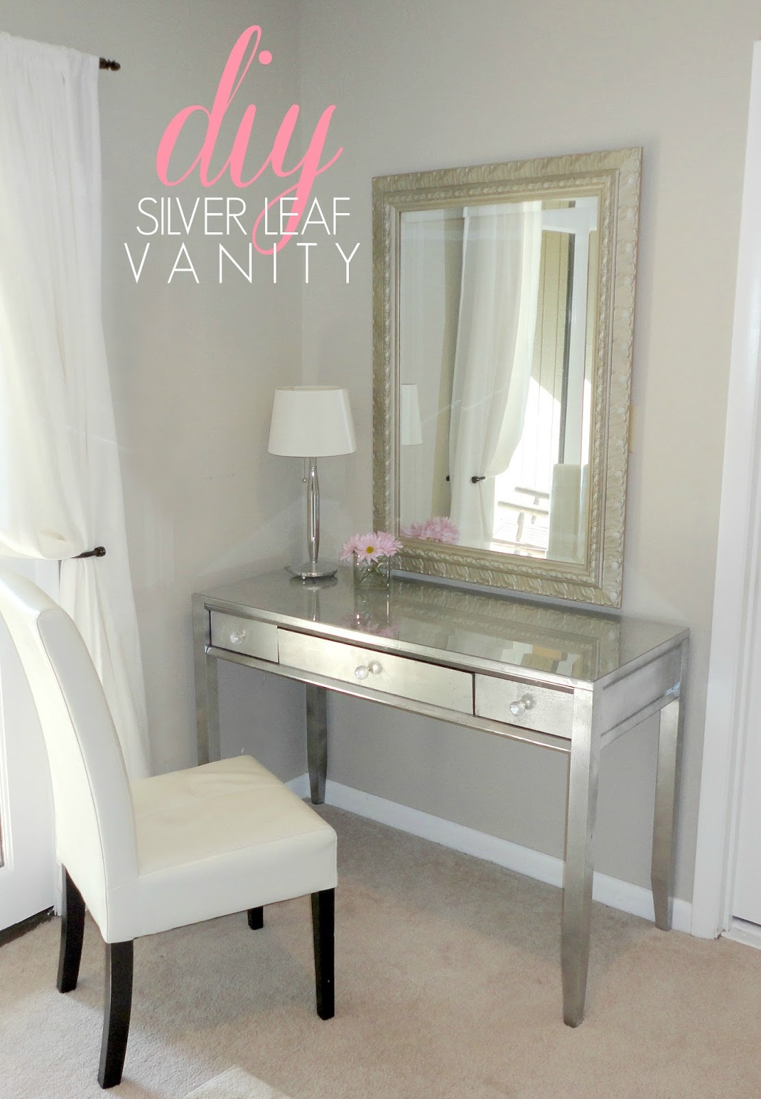 Livelovediy diy thrift store desk makeover using silver for Silver vanity table