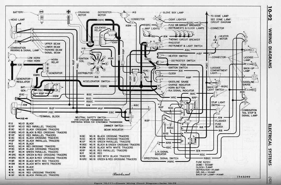 Buick Roadmaster Series 50 And 70 1952 Chassis Wiring Circuit Diagram