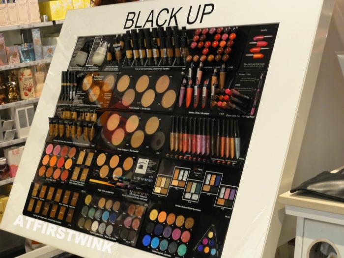 Black Up cosmetics display