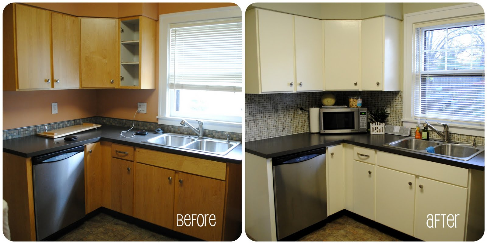 The daily brees kitchen before after for Before and after pictures of painted laminate kitchen cabinets