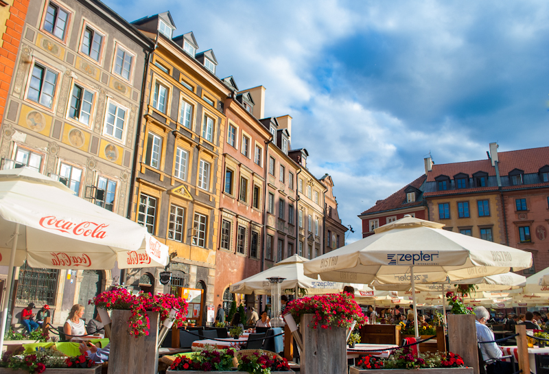 Sunny day in the old town market square of warsaw poland