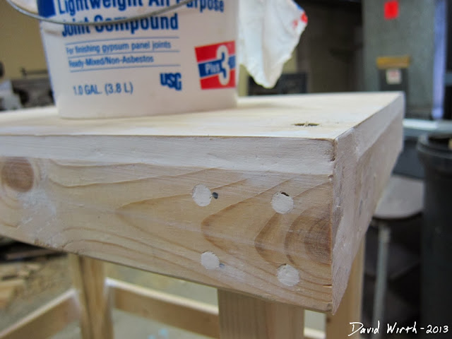 use lightweight joint compund to fill in screw holes