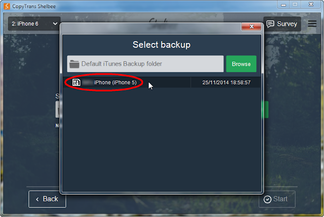 select from list of backup entries in popup