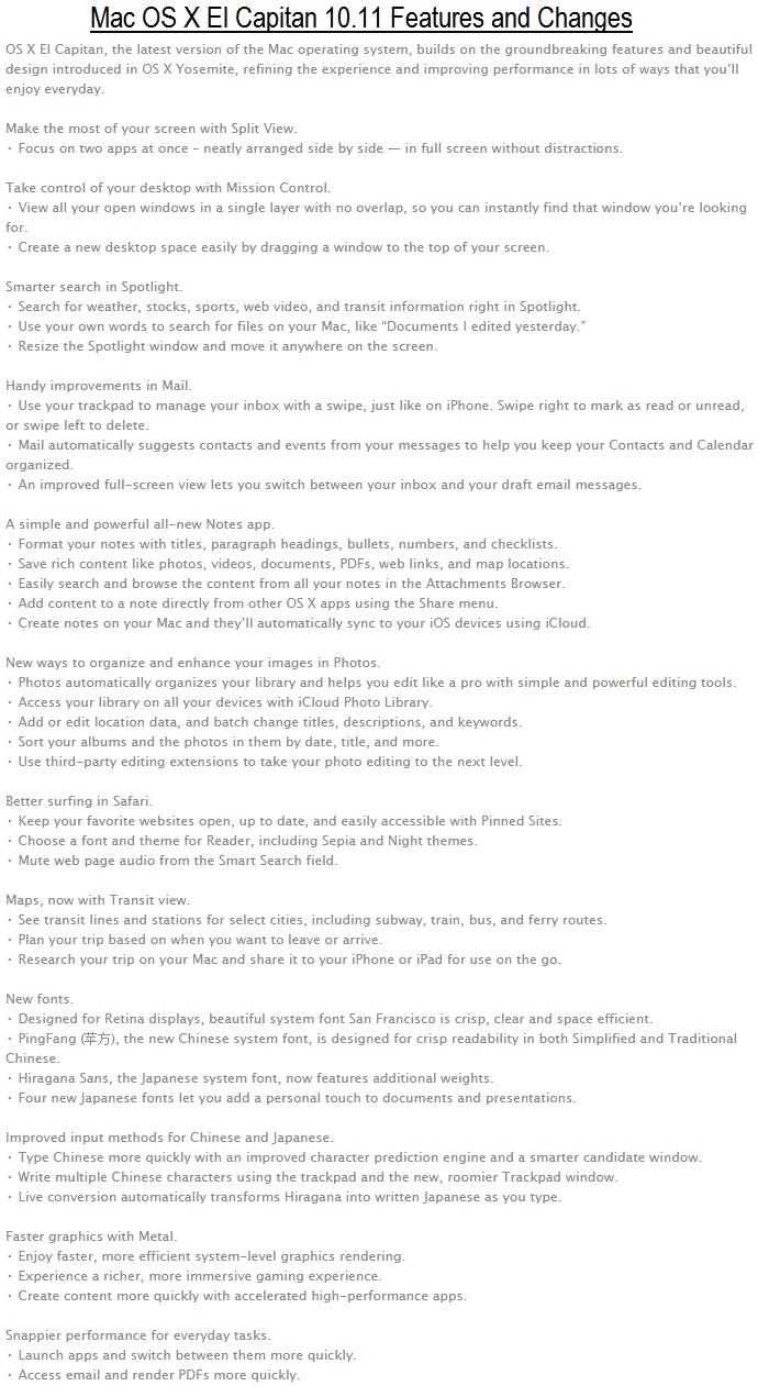 Mac OS X 10.11 El Capitan Features