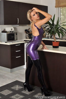 Sexy Purple Latex Dress with Black Latex Stockings and Heels