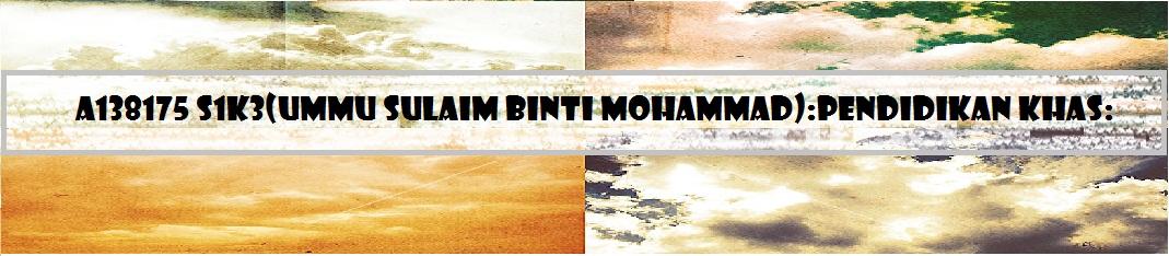 A138175S1K3(Ummu Sulaim Binti Mohammad):Pendidikan Khas: