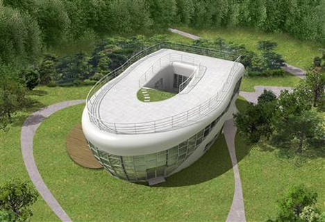"The world's one and only toilet-shaped house was built to mark the launch of the World Toilet Association, a campaign for more sanitary restrooms worldwide. Sim Jae-Duck, nicknamed ""Mayor Toilet"", had the 4,508-square-foot concrete and glass structure built in his native city of Suweon, South Korea. At the center of the home is a glass-walled ""showcase loo"" that produces mist to make users feel more secure. Sim, who was born into a toilet and has made clean restrooms his life's work, now lives in the home."