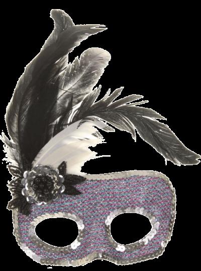Máscara Carnaval PNG - Brilhantes e plumas