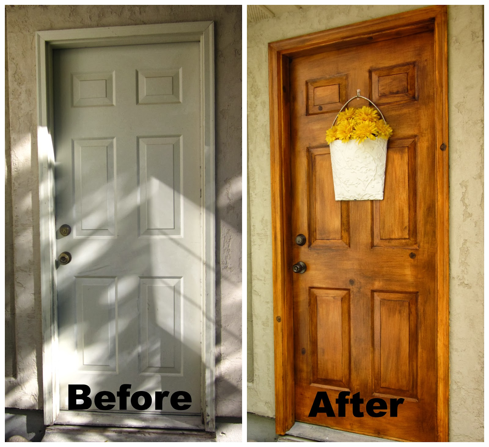 Honey i 39 m home a faux wood painting tutorial for Faux wood doors