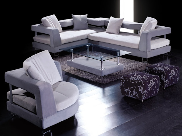 EHO Studios Ultra Modern Slate Grey Microfiber Sectional with White Seats