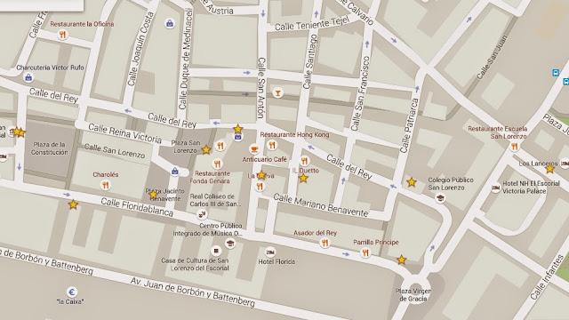 Mapa 3º  Ruta de las tapas San Lorenzo y el Escorial.