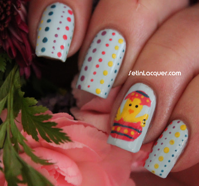 Easter nail art using dotting tools and Zoya Polishes
