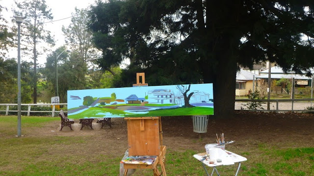 Plein air oil painting of Thompson Square, Windsor by artist Jane Bennett