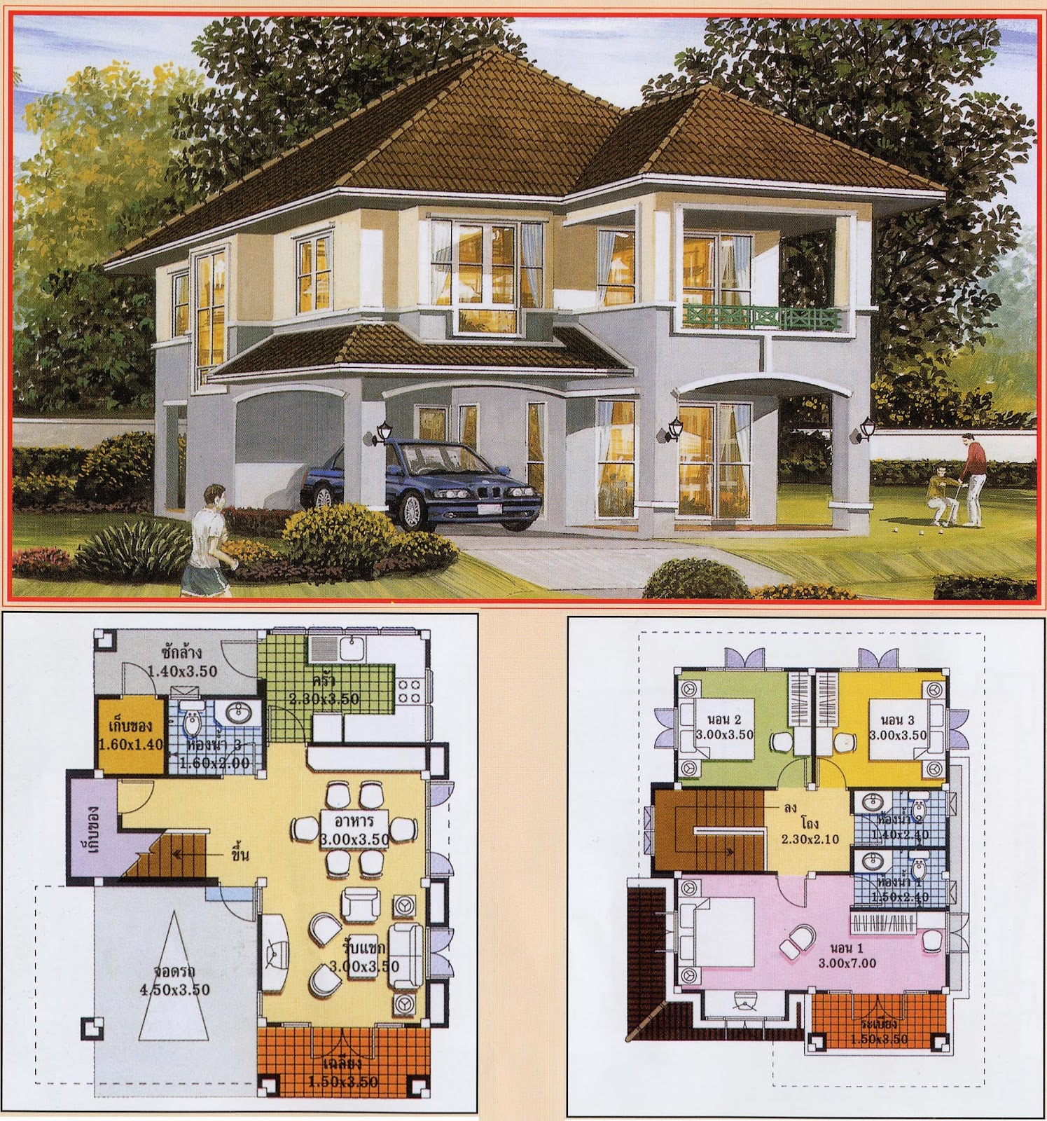 Architecture art khmer thai villa house plan for Villa architecture design plans