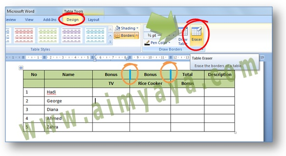 Gambar: Contoh cara mudah menghapus border tabel di Microsoft Word dengan menggunakan Table Eraser.