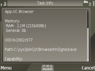 UC Browser RAM Usage