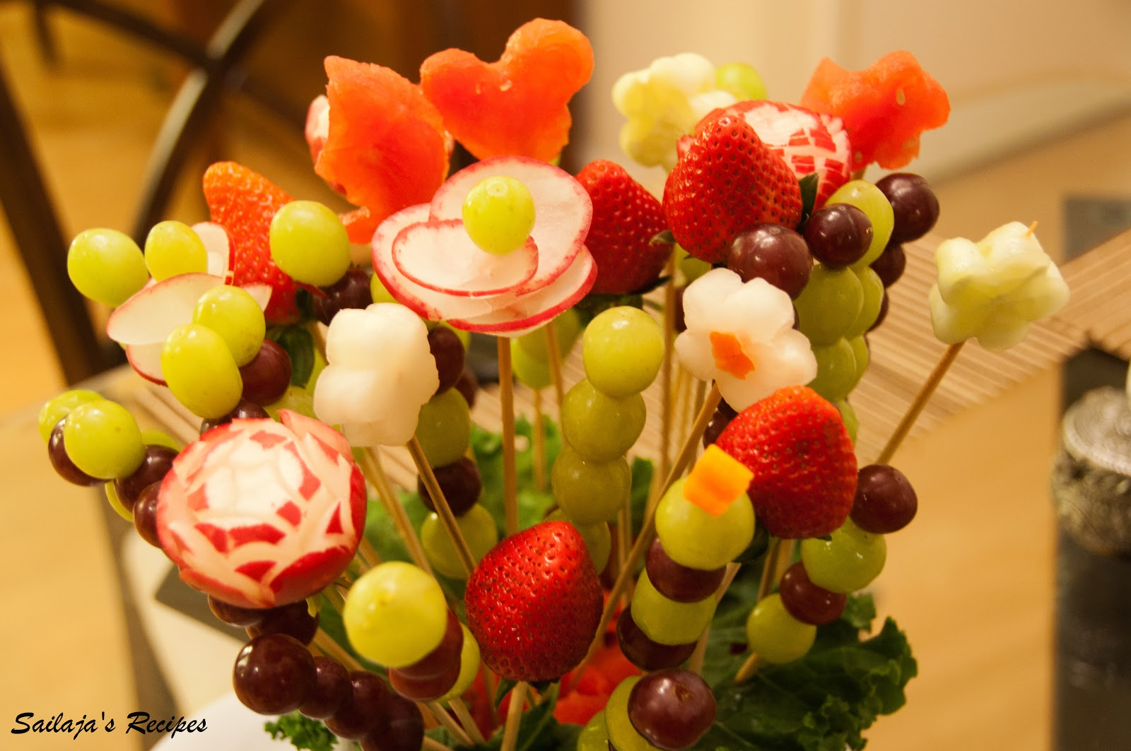 Sailaja 39 s recipes diy fruit bouquet edible arrangements Fruit bouquet