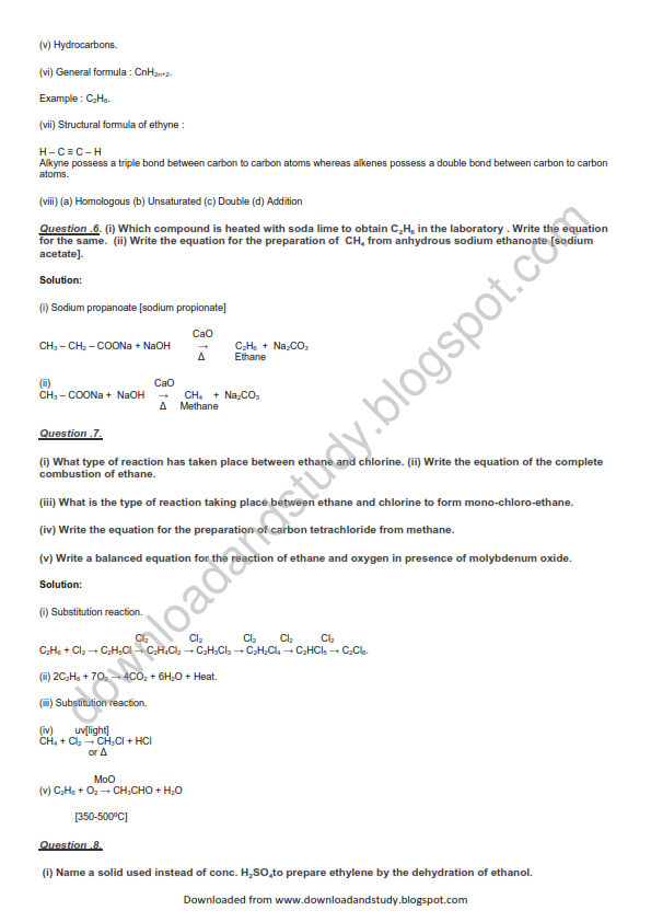 Download Study Organic Chemistry Important Question Answers – Organic Chemistry Worksheets