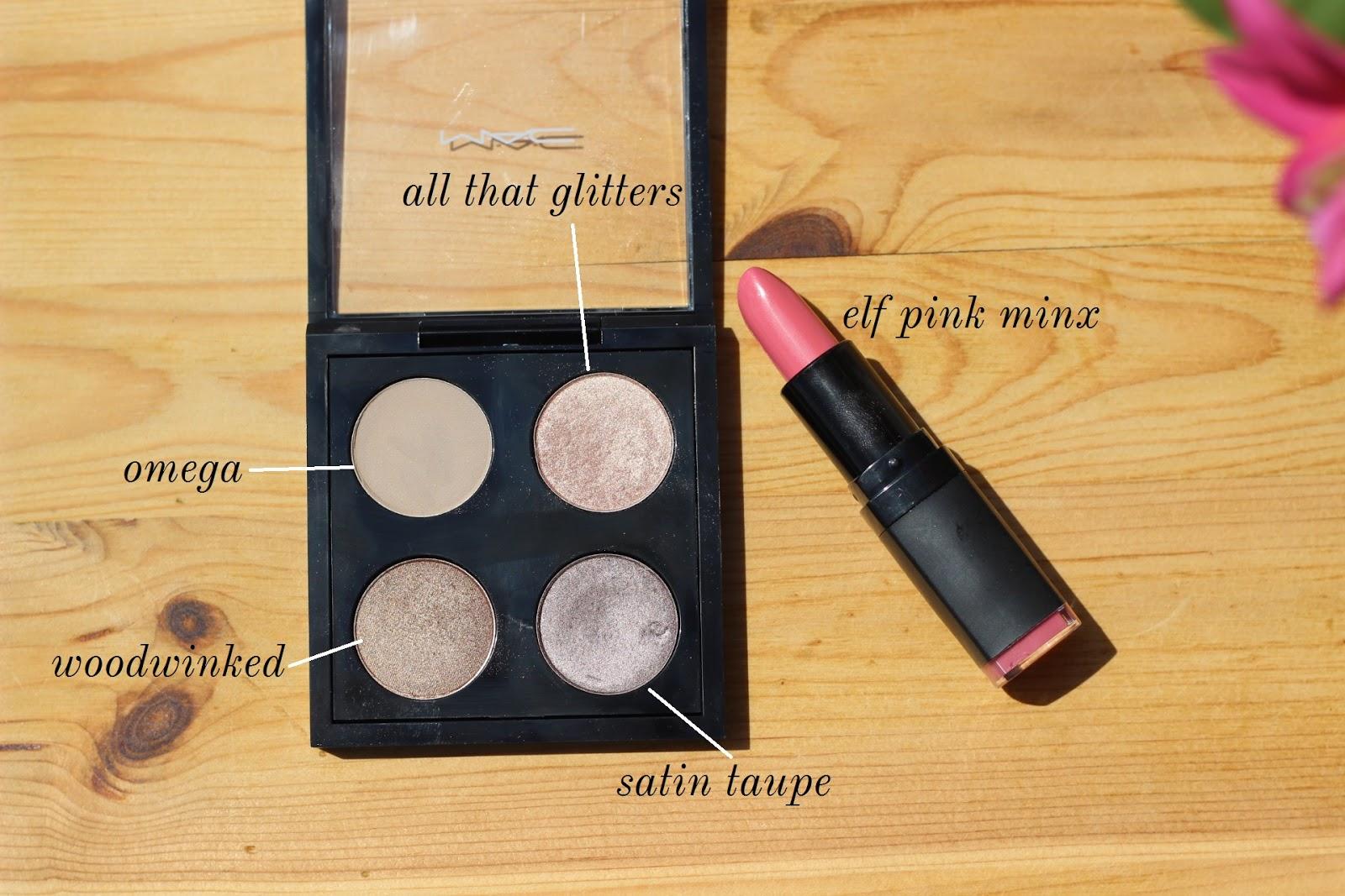 mac shadows, pink lipstick
