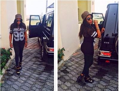 Ini Edo poses with her N40m G-Wagon SUV
