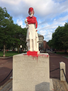 Andrew J. Mazzola sculptor; Monument defaced in Christopher Columbus Park;