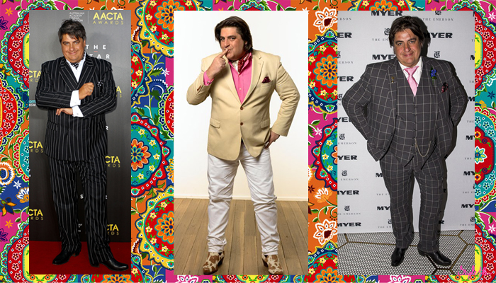 Matt Preston of Masterchef Australia, Taste and Delicious is groomed in a suit with his own unique flair of cravats, prints, colours, neckerchiefs and pocket squares