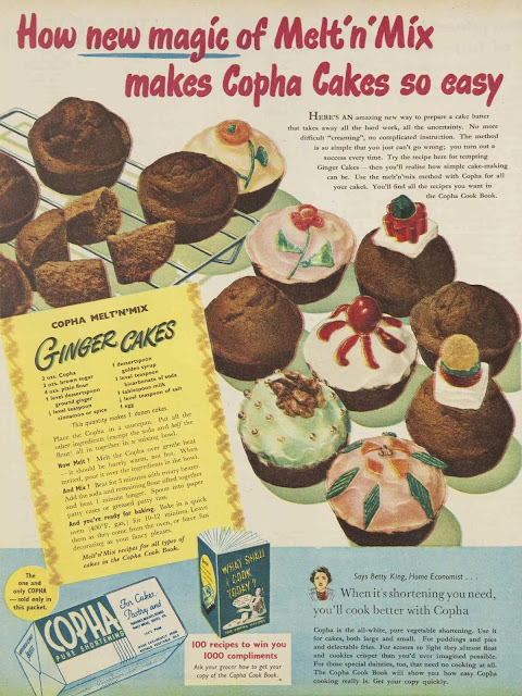 melt and mix cakes Copha baking ad, 1950
