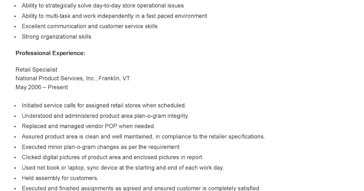 resume sles sle retail specialist resume