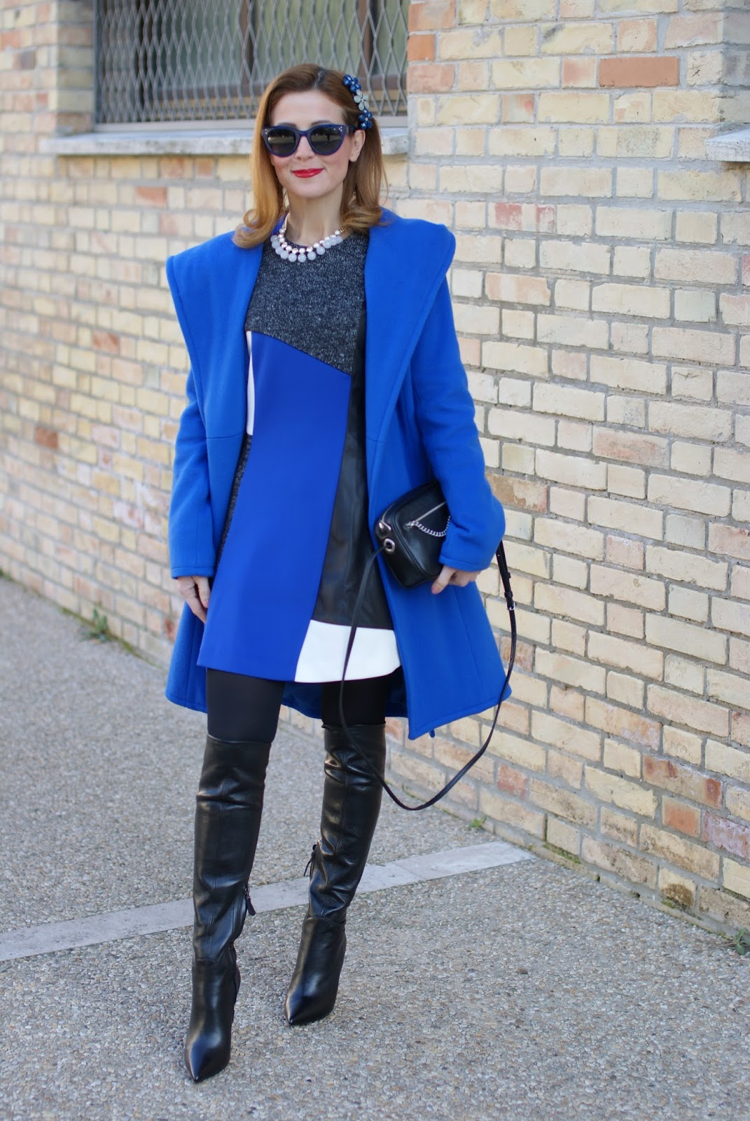 Wrap hooded coat and over the knee boots for daytime on Fashion and Cookies fashion blog, fashion blogger style