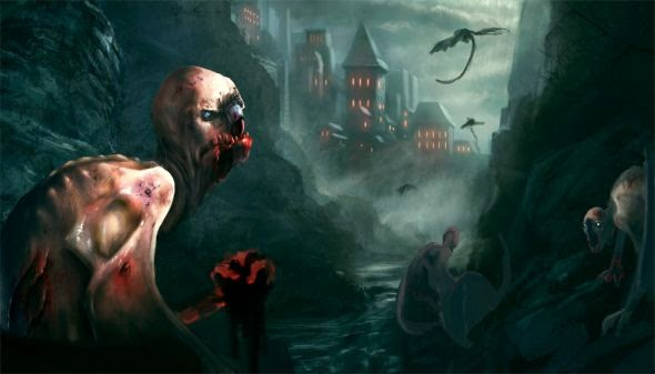 Grosnez deviantart illustrations fantasy science fiction Creepy creature