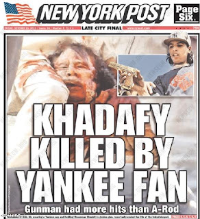 new york post cover khadafy killed by yankee fan