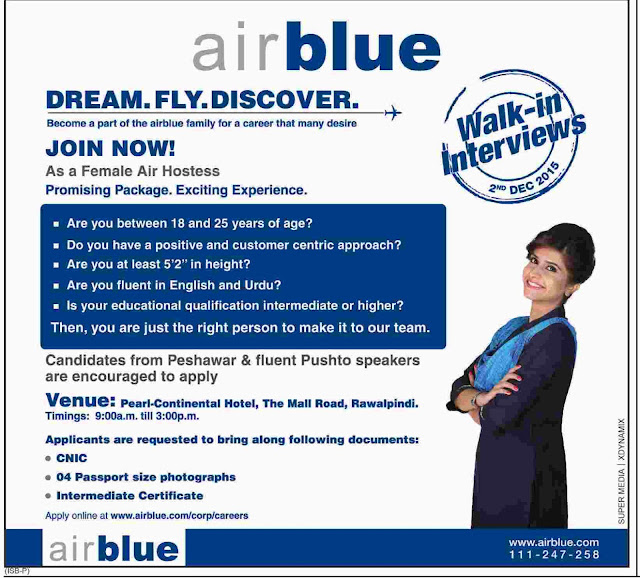 Air Hostess Jobs in Air Blue Pakistan