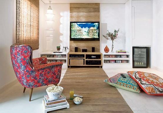 Sala De Tv Almofadas ~  de imagem e estilo por Fe Cardoso Ideias para decorar a Parede da TV