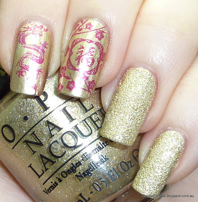 OPI Honey Ryder with Essie As Good As Gold with stamping China Glaze Heli-yum