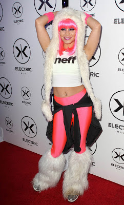 Vanessa Hudgens looking like a sexy cosplay as go go dancers at Electric Run event in LA