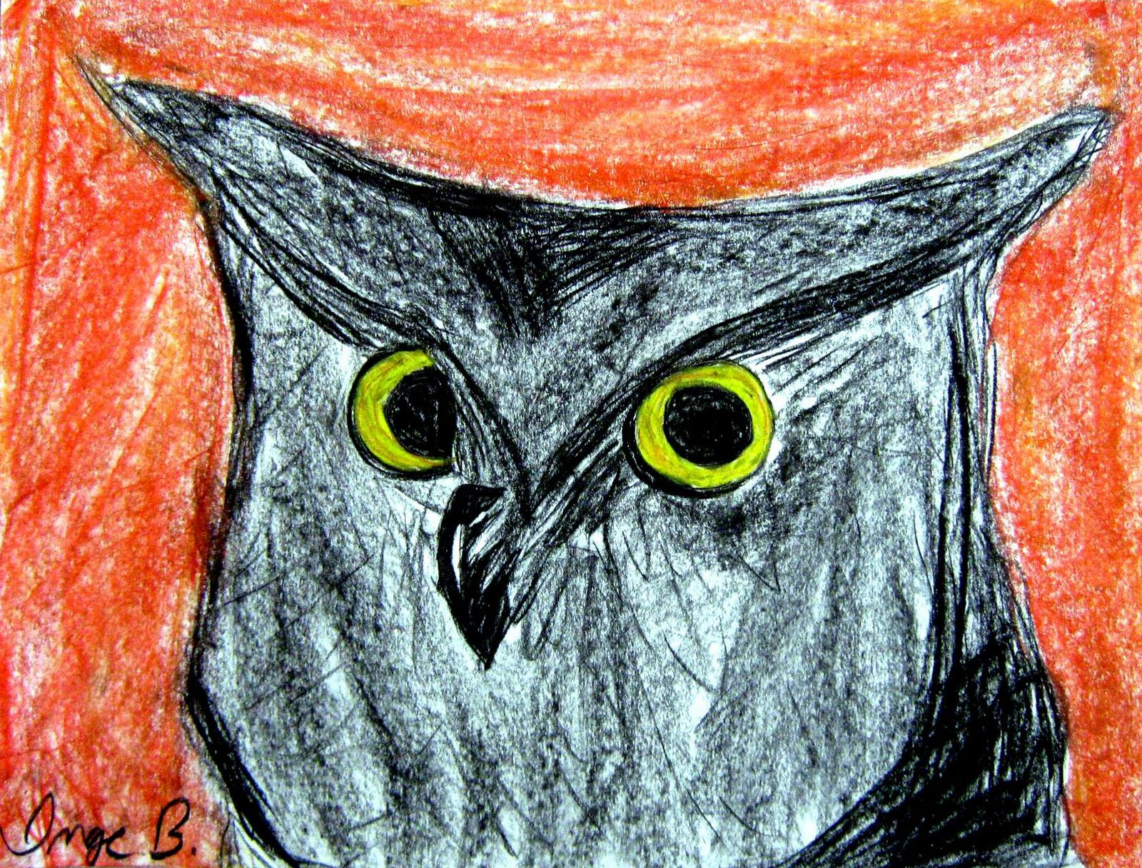 art dish with mj charcoal and pastel owls