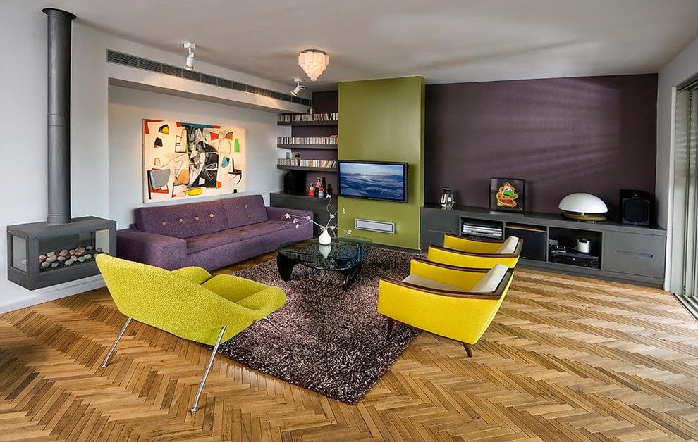 Decoração de sala em amarelo  beringela e cinza