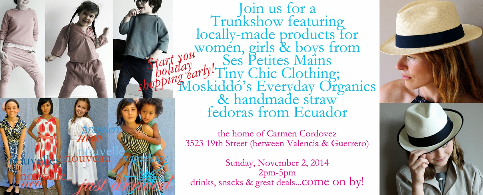 holiday trunkshow, shopping in the bay area, sfmade, mos kiddos, panama hats for women and girls, organic clothing for women, girls and boys