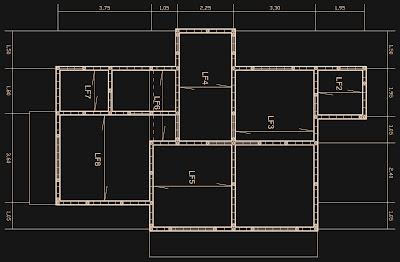 Como a construção desta casa conta com o sistema de alvenaria estrutural, todas as medidas equivalem à múltiplos de 15 cm, em respeito às dimensões do bloco cerâmico utilizado. Pilaretes estão presentes em todos os vértices e junto das aberturas de portas e janelas.