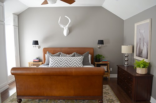 Great We are so thrilled with how the bed brings the whole room together The yummy brown leather warms up the grey and white color scheme and I love how the
