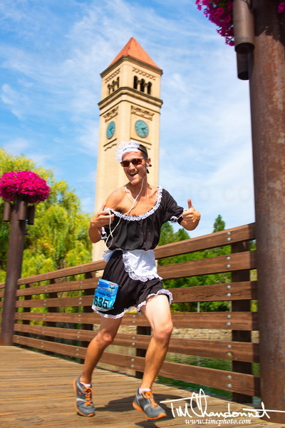 run,runner, running, team relay, group, Spokane to Sandpoint Relay,french maid, headphones, Downtown Spokane, Riverside Park, pose, mid step, stop action, Tim Chandonnet Photography, timcphoto, www.timcphoto.com, action, sports, bellingham washington photographer