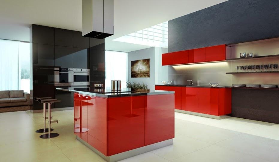 Diseño de Cocinas en colores Rojo y Negro  Cocina y Muebles