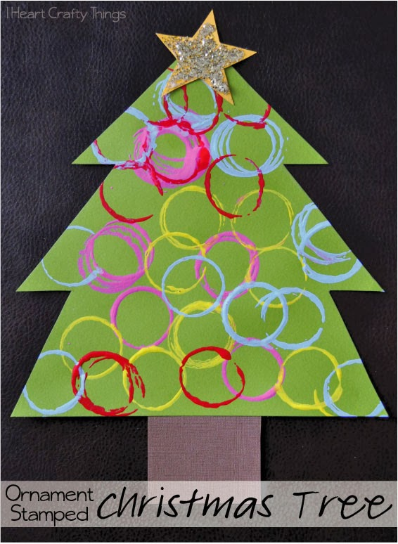 Ornament stamped christmas tree craft i heart crafty things for Christmas card christmas tree craft