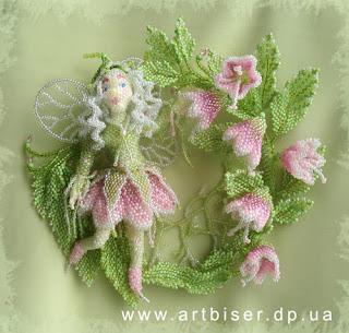 Игрушка из бисера цветочная фея