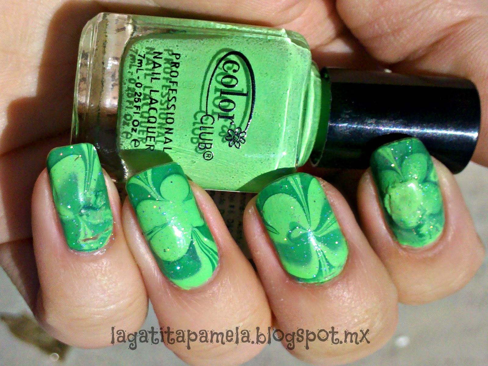 Pamela\'s Nails: St. Patrick\'s Day Water marble nails-Uñas Marmoleado ...