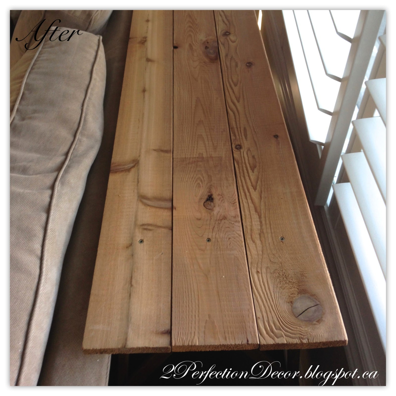 How to make a sofa table out of floor boards - Next Came Evening Out The Ironing Board Base With Some Thin Wood Shims To Make The Planks Sit Nice And Even