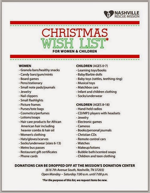 Nashville Rescue Mission Christmas Wish List