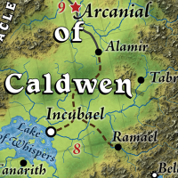 Central area of wizarding realm Caldwen, including its capital, Arcanial, in the Great Caldera, World of Calidar.  Topographical map.  Stereographic Projection.